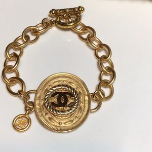 Stunning Gold Authentic Chanel Button bracelet.